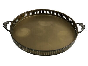 Vintage-Brass-Serving-Tray-Round-Platter-Ornate-Floral-Handles-Rustic-Farmhouse