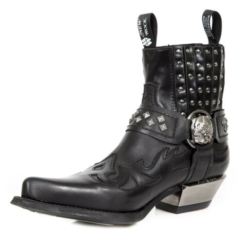 NEW ROCK M.7950-S9 Black Ankle Boots Western Goth Strap Skull Studded Metal