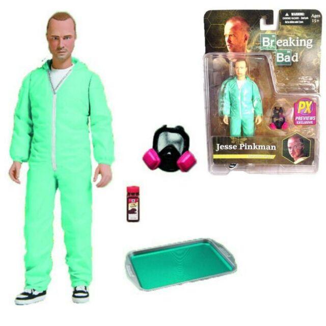 Breaking Bad Figure Jesse Pinkman Blue Hazmat Cook Suit 16cm Mezco Px Exclusive
