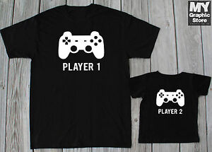 9524910e38f05 Player 1 Player 2 T-shirts Father Baby Gaming Shirts Daddy Son ...
