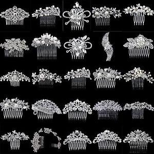 U-Bridal-Wedding-Party-Flower-Leaf-Crystal-Rhinestone-Hair-Comb-Hair-Accessories
