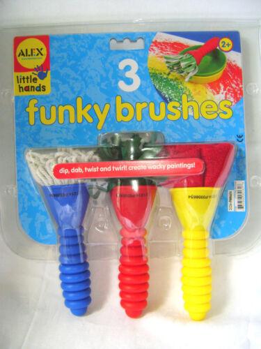 Neuf 3 funky brosses texturé tissu fil pinceaux pour enfants alex 513W