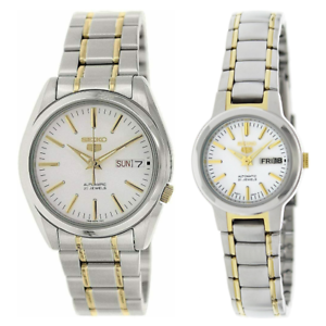 Seiko-5-Classic-White-Dial-Couple-039-s-2-tone-Gold-Plated-Stainless-Steel-Watch-Set
