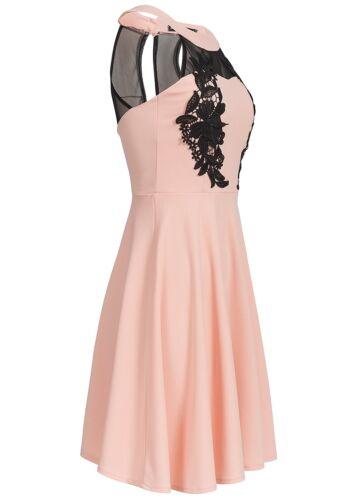 50/% OFF B17025168 Damen Violet Kleid kurz Brustpolster Häkeleinsatz geblümt rosa