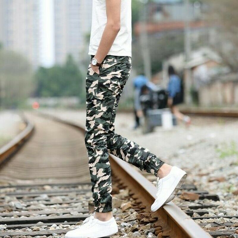 Fashion Men Trousers Cotton Blend Slim Korean Camouflage Skinny Long Harem Pants