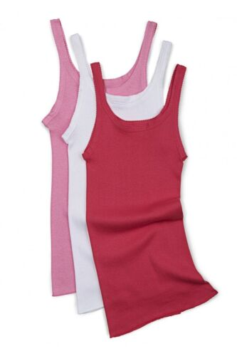 3 PACK x BONDS GIRLS NARROW STRAP SINGLET Chesty Vest Underwear White Pink Kids