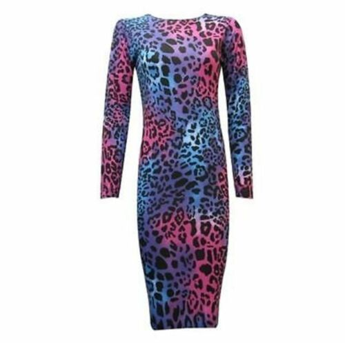 WOMENS LONG SLEEVE STRETCH BODYCON PLAINPRINTED JERSEY MIDI MAXI DRES PLUS SIZE