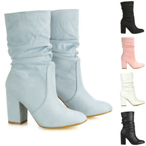 Womens-Mid-Calf-High-Heel-Boots-Ladies-Pull-On-Winter-Faux-Suede-Rouched-Booties