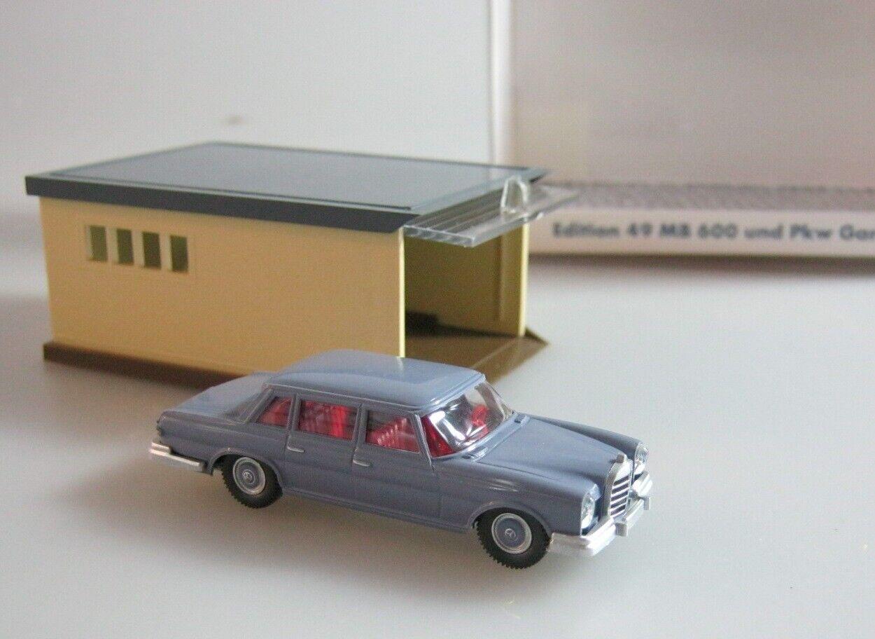 Wiking 1 87 H0,Mercedes 600 w100 taubenblue mit PKW Garage,Lechtoys Sondermodell