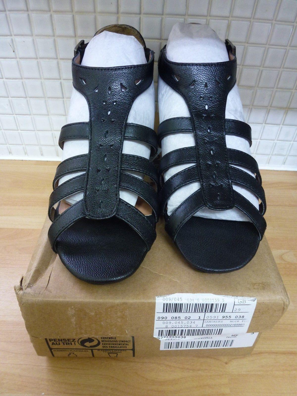 Pediconfort Womens Leather Peep Toe Sandal Shoes 5/38 BNWT* Black Uk Freepost
