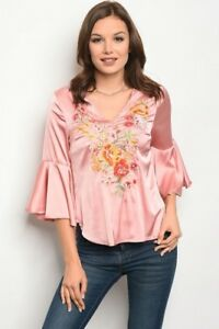 New-Boho-Cowgirl-Pink-Floral-Embroidered-Bell-Sleeve-Satin-Western-Blouse-Top-S