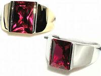 Men's Rectangular Ruby Ring 20913 July Stone - You Pick Setting
