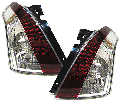 Red Clear glass rear LED tail lights rear lights for Suzuki Swift III 05-10