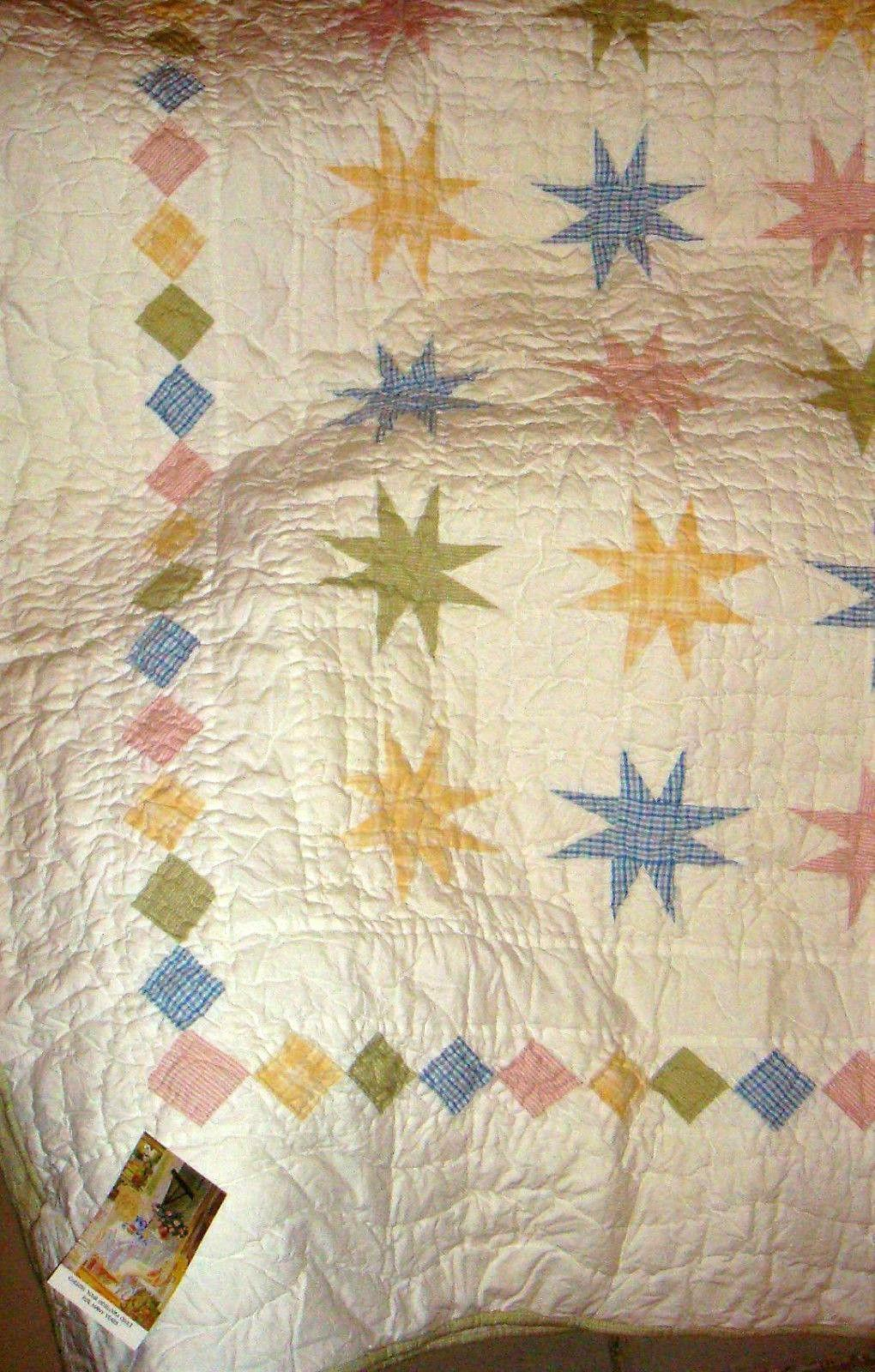 NEW Morning Star Full Queen Heirloom Quality Quilt Gingham Eight Point Stars