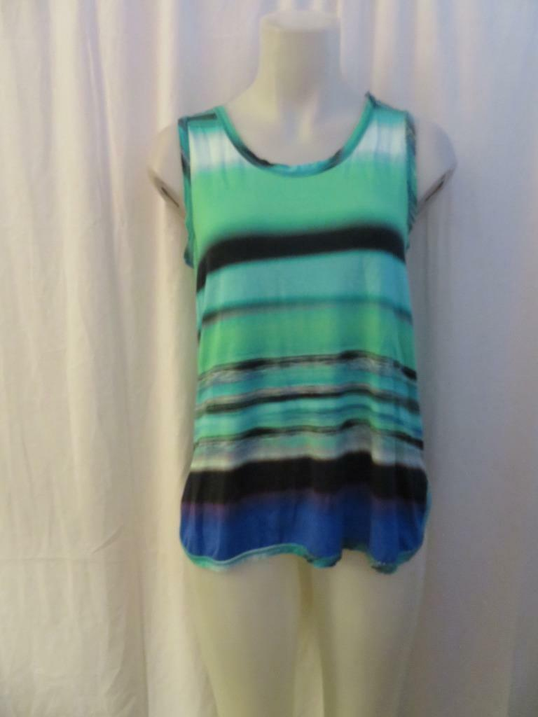 WOMENS LOLA & SOPHIE MULTI-COLOR STRIPED SLEEVELESS STRETCH TANK TOP SIZE S