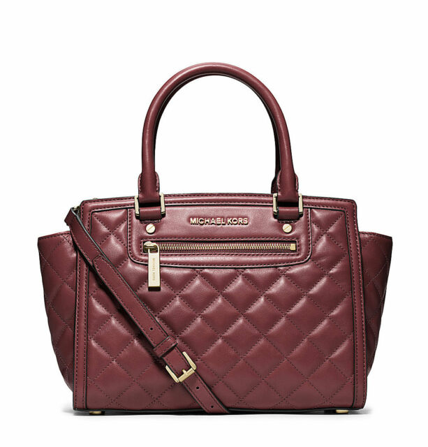 Nwt Michael Kors Selma Quilted Leather Medium Top Zip Satchel Bag Claret 348