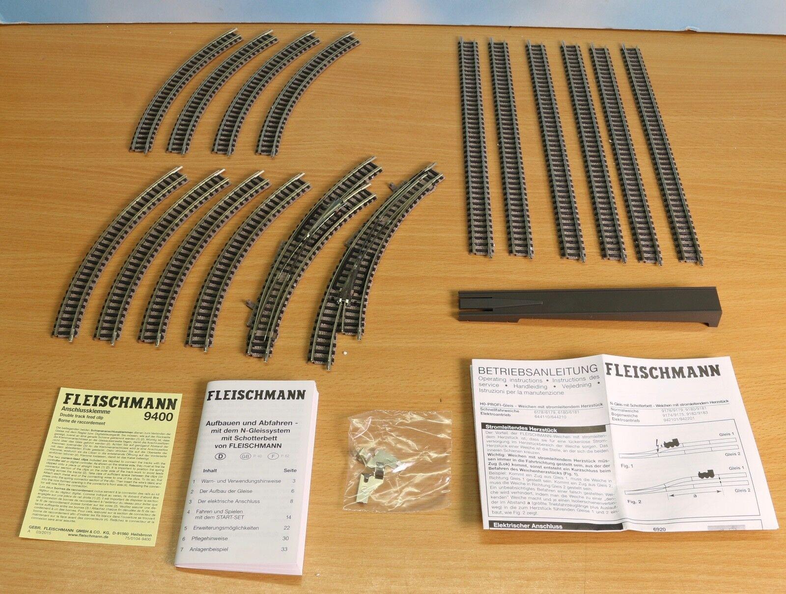Fleischmann 931882.10, -Spur N, Glisset AB Oval 2 Weichen 65533;65533;,