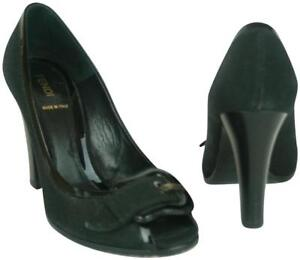 3a870ae8586 FENDI BLACK FABRIC & PATENT LEATHER SHOES WITH B BUCKLE & PEEP TOE ...