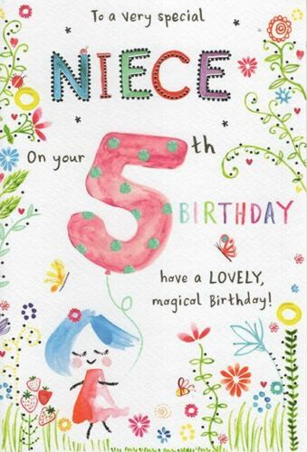 To A Very Special Niece 5th Age 5 Flowers /& Balloon Design Happy Birthday Card