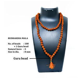 REAL-RUDRAKSHA-MALA-108-1-BEADS-ROSARY-5-MUKHI-RUDRAKSH-MALA-FREE-SHIP-AU
