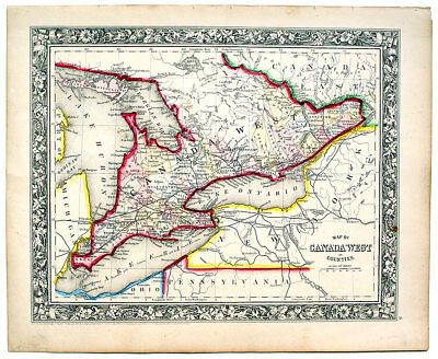 Map Of Canada 1862 1862 CANADA WEST (ONTARIO), MITCHELL ANTIQUE HAND COLORED MAP | eBay
