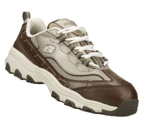 NEW WOMEN SKECHERS DLITE 76442 MOCHA BROWN EH SAFETY TOE WORK BOOT SHOES 10 EW