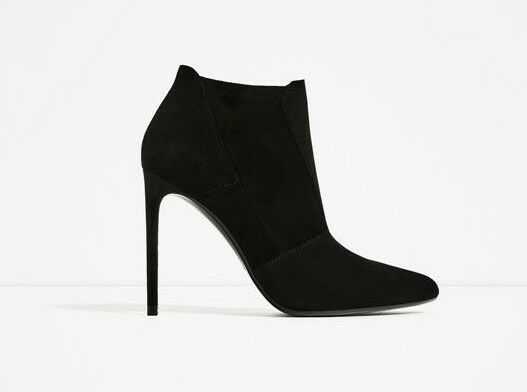 ZARA WOMAN STIEFELETTEN 40 ANKLE HIGH HEELS black WILDLEDER SUEDE STILETTO
