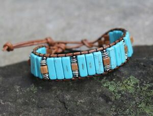 Details About Men S Turquoise And Tiger Jasper Beaded Brown Leather Cuff Bracelet Handmade Usa