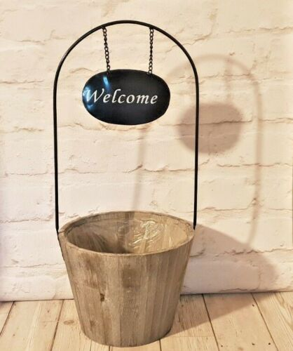 Smaller Wooden Barrel Flower Planter Container Spring Holder Round Welcome Sign