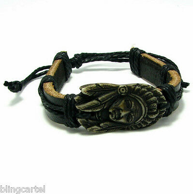 American Indian Head Chief Headdress Feathers Black Leather & String Bracelet