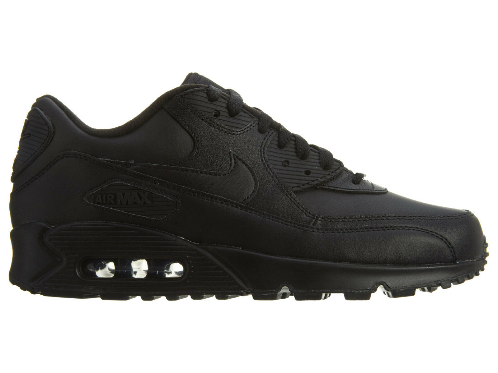 Nike Air Max 90 Leather Mens 302519-001 Size Black Running Athletic Shoes Size 302519-001 12 826a37