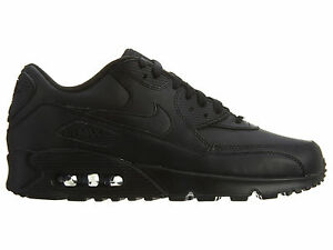 Details about Nike Air Max 90 Leather Mens 302519 001 Black Running Athletic Shoes Size 11