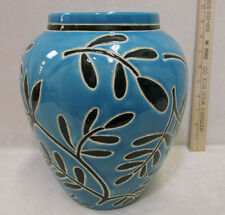 Decorative Ceramic Pottery Vase Urn Flower Floral Sky Blue Vine Leaf Pattern