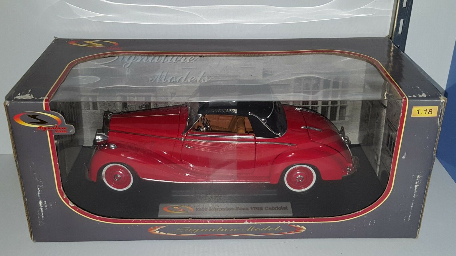 Los modelos de firma 1 18 1950 Mercedes-Benz 170S Cabrio rosso YD