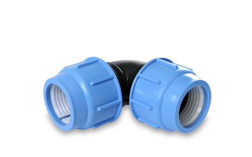 MDPE 90° Elbow Compression Fitting Water Pipe16mm 20mm 25mm 32mm 40mm