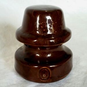 Details about Antique Brown Porcelain Ceramic Electrical Insulator Threaded  Round Top (B) Pole