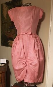1950s pink taffeta and chiffon party prom dresslorrie