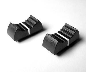 Black with White line -14mm x 11mm Slider Pot Caps Slider knobs pair of