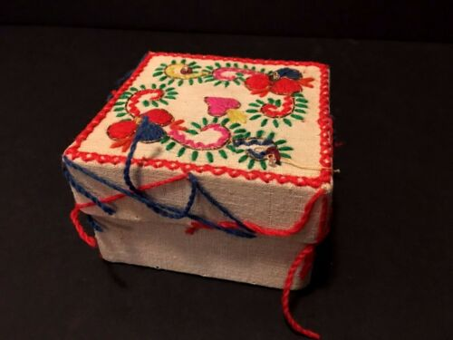 Vintage Hand Stitched Fabric Trinket Box made In Portugal