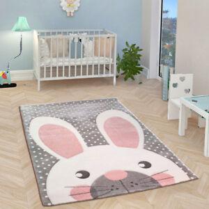 Childrens Nursery Rug Grey Pink White Kids Animal Baby