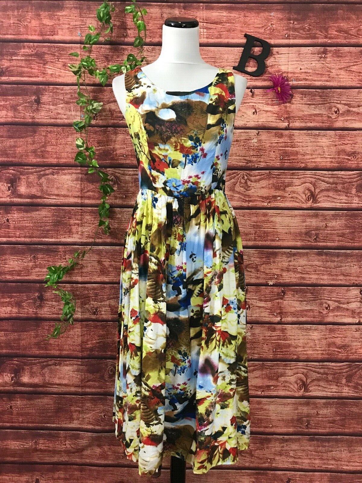 Esley Dress size Medium bluee Yellow Floral Modest Tea Vintage Style Modest