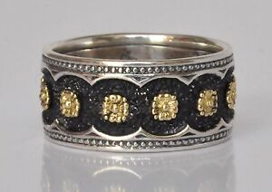 Konstantino-Floral-Motif-Ring-Band-Sz-6-Sterling-Silver-18K-Gold-Nemesis-New