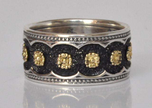 Konstantino Floral Motif Ring Band Sz 6 Sterling Silver 18K Gold Nemesis New