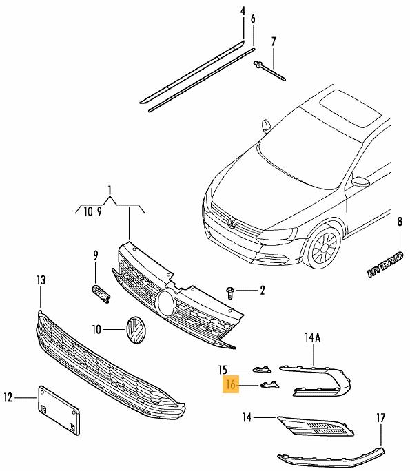 Buy Vw Volkswagen Oem Front Bumper Grille Grill Lower Molding Left