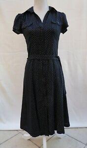 F&F black/white polkadot cap sleeve button through fit & flare dress Size 6