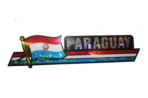 11.75 X 3 INCH PARAGUAY LONG COUNTRY FLAG  METALLIC BUMPER STICKER DECAL .