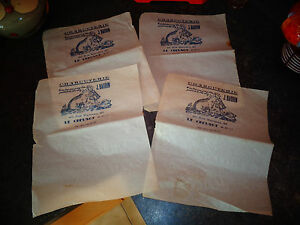 Lot-de-4-Ancien-Papier-d-039-Emballage-Charcuterie-Fillette-au-Cochon-Charcuterie