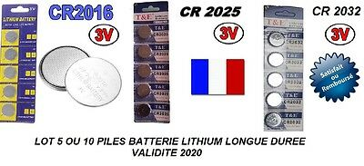 LOT 5 OU 10  PILE BOUTON BATTERIE LITHIUM CR2016 CR2025 CR2032 LONGUE DUREE 3V