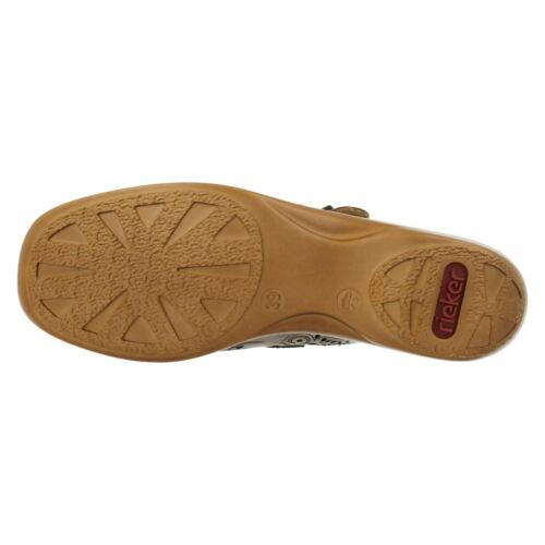 Ladies Rieker 41372 Beige Leather Casual Mary Jane Bar Shoes