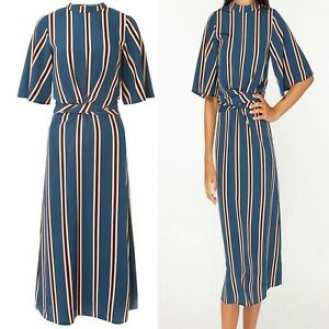 NEW-EX-DOROTHY-PERKINS-Striped-Wrap-Midi-Dress-Sizes-10-20